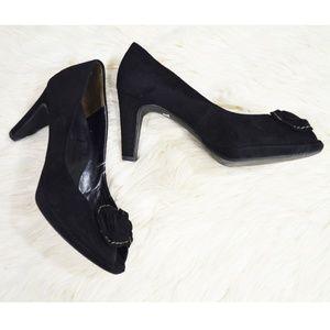 PAUL GREEN Black Suede Peep Toe Heels Shoes 8